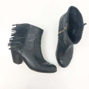 Sam Edelman Louie Leather Fringe Boots Black, 9
